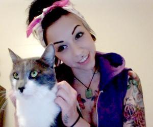 ladie lane, girl, and cat image