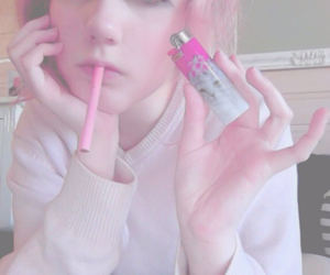 pink, girl, and cigarette image