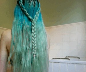 blue hair, green hair, and pale image