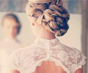 hair, bride, and dress image