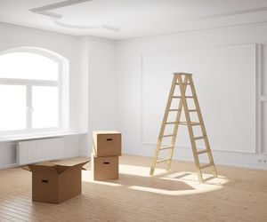 boxes, ladder, and white image
