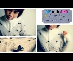 bow, diy, and sweater image