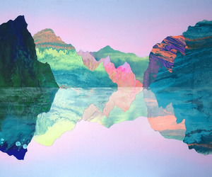 blue, land, and pink image