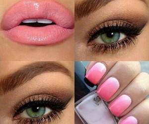 makeup, nails, and lips image