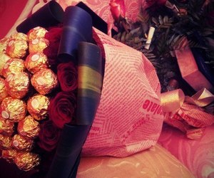chocolate and flowers image