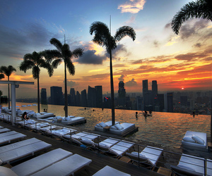 pool, sunset, and hotel image