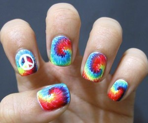 nails, peace, and rainbow image
