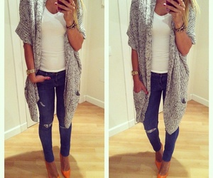 cardigan, outfit, and summer image