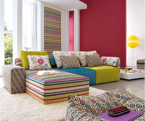 living room, cosy, and rainbow sofa image