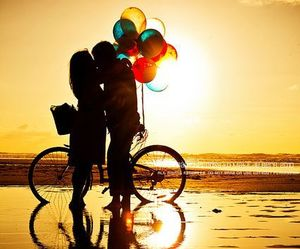 balloons, kissing, and lovely image
