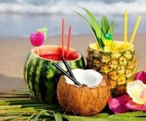 beach, coconut, and drink image