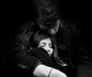 black and white, love, and holding image