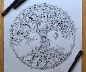 black and white, doodles, and draw image