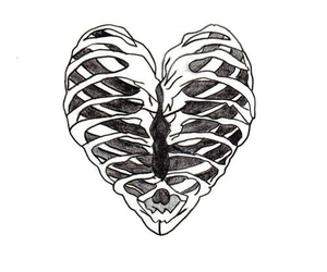 heart, bones, and black and white image