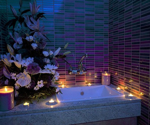 bath, bubble, and candles image