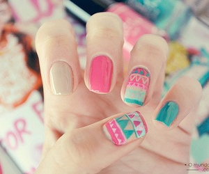 nails, pink, and tribal print image