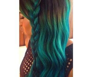 blue hair, braid, and green hair image