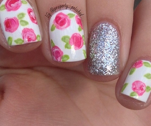 nail art, nails, and flowers image