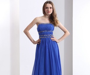 yoyomelody, elegant luxurious chiffon, and blue a line evening dress image