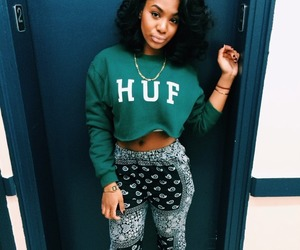 black woman, casual, and curly hair image