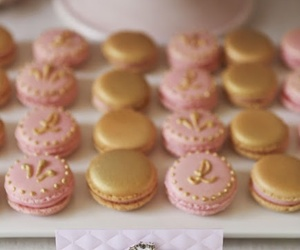 pink, gold, and macarons image
