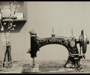 black and white, machine, and sewing machine image
