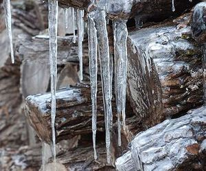 ice, wood, and winter image