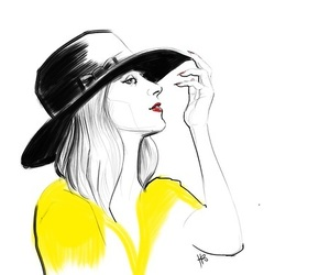 drawing, fashion illustration, and hat image