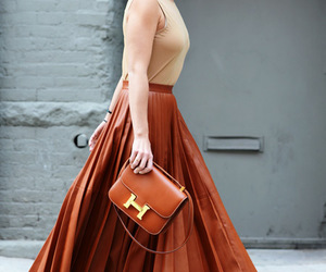 fashion, skirt, and brown image
