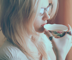 girl, cup, and glasses image
