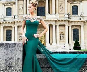 dress, green, and evening dress image