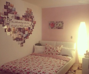bed, Collage, and heart image