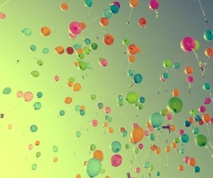 ballons, blue, and green image