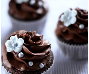 chocolate, cupcake, and flowers image