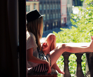 girl, hat, and alone image