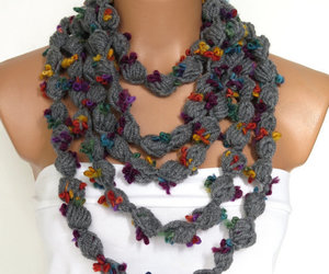 grey, grey scarf, and etsy fashion image