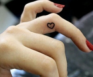 finger, heart, and small tattoo image