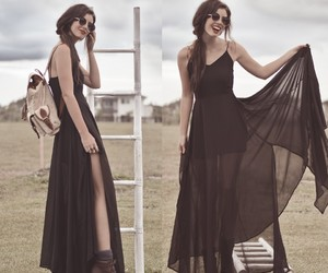 bag, black dress, and chic image