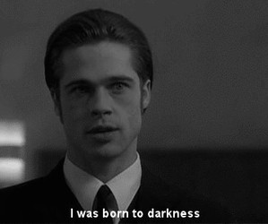 brad pitt, Darkness, and black and white image