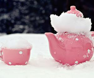 pink, snow, and tea image