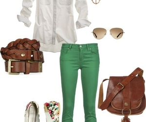 outfit, green, and clothes image