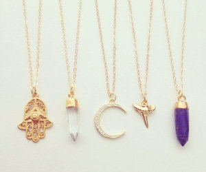 necklace, gold, and moon image