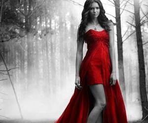 Nina Dobrev, Vampire Diaries, and red image