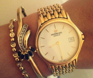 gold, watch, and raymondweil image