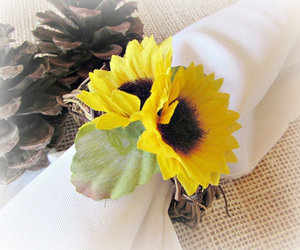 sunflower napkin rings, silk flower napkin rings, and rustic twig napkin rings image