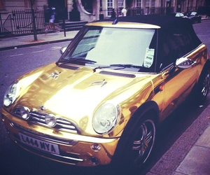 car, gold, and mini cooper image