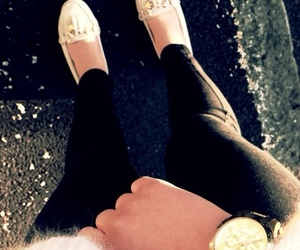 black and white, gold, and Michael Kors image