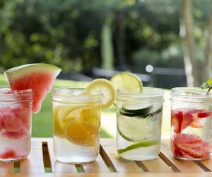 fruit, water, and fruitinfusedwater image