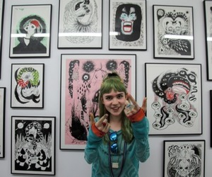 grimes, art, and green hair image