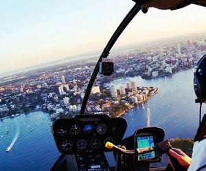 beach, city, and helicopter image